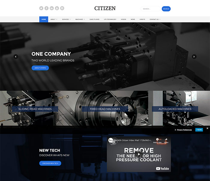 Website Design for Citizen Machinery UK